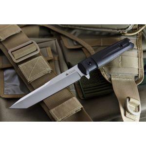 Nôž s pevnou čepeľou Kizlyar SUPREME® Aggressor AUS 8 - čierny Satin (Farba: Čierna, Varianta: stříbrná čepel – Satin)