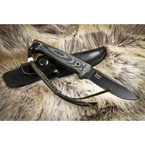 Nôž s pevnou čepeľou Kizlyar SUPREME® Santi AUS 8 Titanium Micarta - čierny-sivý (Farba: Sivá, Varianta: černá čepel – Titanium Coating)